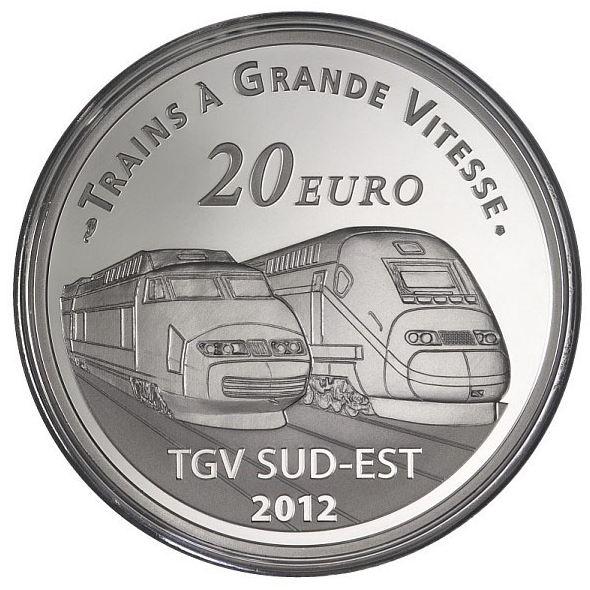 Revers Piece 20 Euros Argent Trains - Gare de Lyon saint Exupery 2012