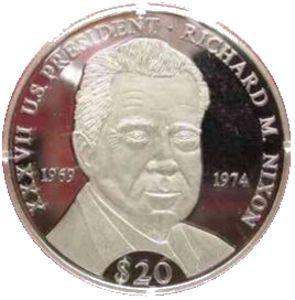 Une pièce de 20 dollars avec Nixon sur l'avers