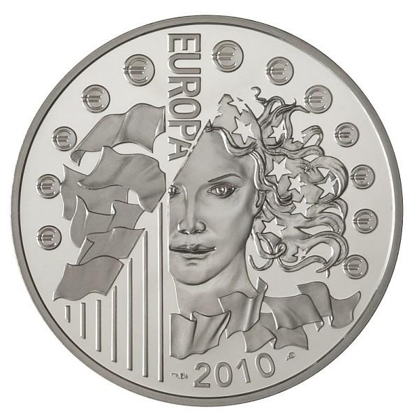 Avers : le visage d'Europa sur la pièce 10€ Argent