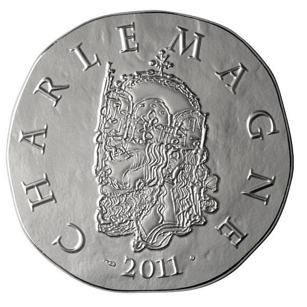 Charlemagne sur la pièce 10 Euros Argent