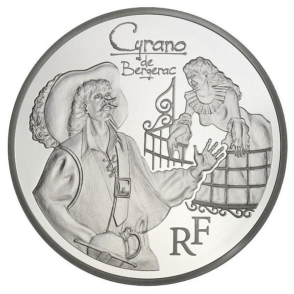 Avers de la pièce 10 Euros Argent Cyrano de Bergerac