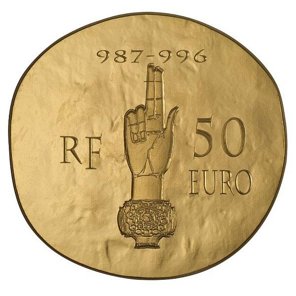 Revers de la Pièce Hugues Capet 2012 en Or