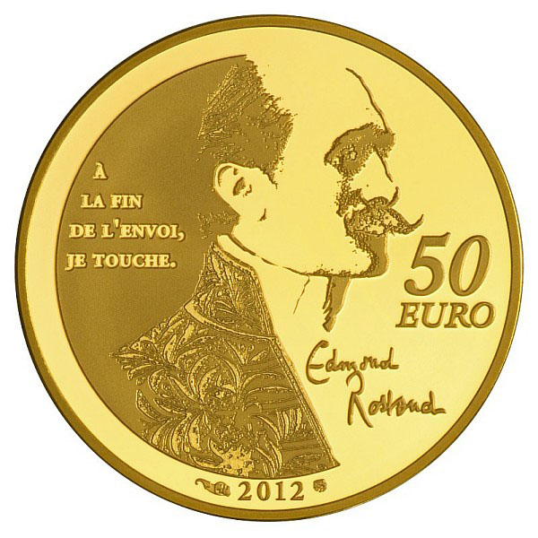 Edmond Rostand sur la Pièce Or 50 Euros Cyrano