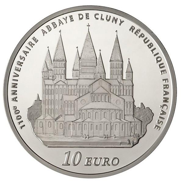 Revers de la pièce argent : l'abbaye de Cluny
