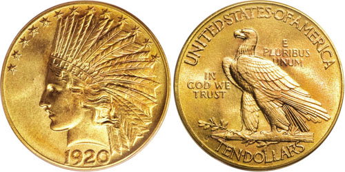 Piece 10 Dollars US Or (Eagle) - Série Indien (Saint-Gaudens)