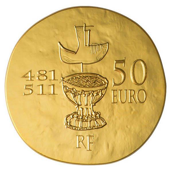 Pièce 50 euros Or Clovis, premeir roi de France