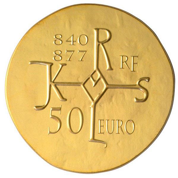 Revers de la pièce 50 Euros Or Charles le Chauve